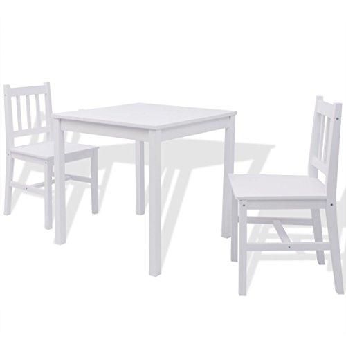 Festnight 3teilig-Set Essgruppe mit Esszimmertisch + 2 Essstühle Küchentisch Esszimmerstuhl Esstisch-Set aus Pinienholz Weiß