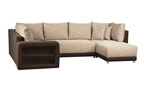 Sofa U Form / Federkern Couch mit Bettfunktion und Bettkasten / Ottomane rechts o. links montierbar / Strukturstoff und Microfaser / Mit Regal in Armlehne / Cappuccino / 298 x 190 x 69 cm (B x T x H)