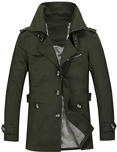 Menschwear Herren Jungen Übergangsjacke Langarm Trenchcoat Mantel Kurzmantel Einreihig Jacke (M,Grün)