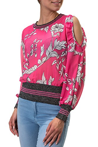 Hachiro Damen Langarmshirt Blusenshirt Bluse Tunika Print (S, Fuxia)