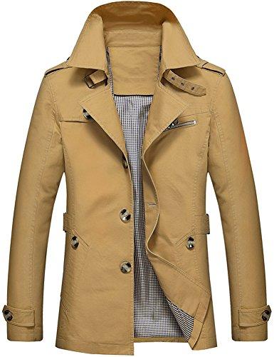 Mochoose Herren Trench Baumwolle Jacke Klassisch Kragen Revers Mantel Windbreaker Taste Langarm Oberbekleidung Retro(Dunkles khaki,XS)