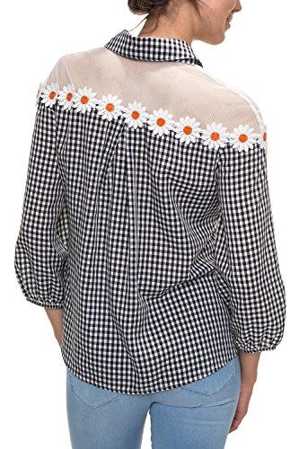 Hachiro Damen Langarmbluse Hemdbluse Karierte Bluse (S, Black)