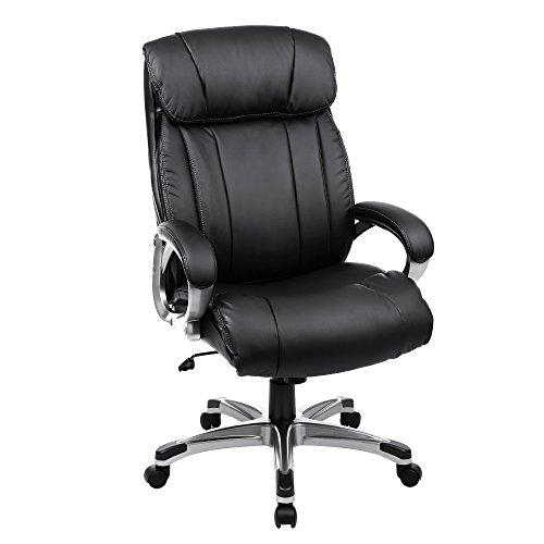 SONGMICS Bürostuhl breite Sitzschale mit Federkern hohe Rückenlehne Bürosessel Chefsessel Computerstuhl PU schwarz OBG55BK