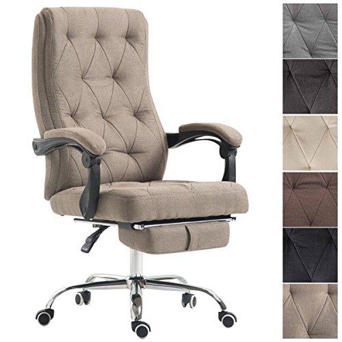 CLP Bürostuhl GEAR mit hochwertiger Polsterung und Stoffbezug | Höhenverstellbarer Chefsessel mit ausziehbarer Fußablage | Ergonomischer Drehstuhl mit Laufrollen | In verschiedenen Farben erhältlich Taupe