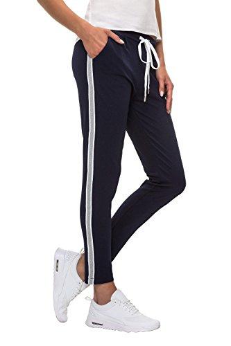 Hachiro Damen Freizeithose Jogginghose Hose Sportswear Style (XL, Blue/Grey)