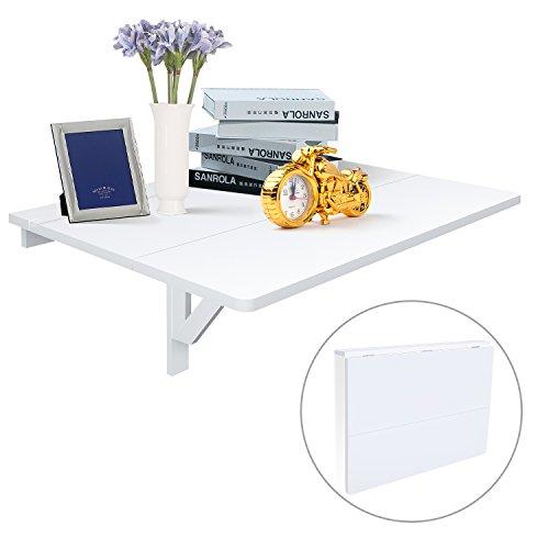 HOMFA Wandtisch Wandklapptisch 80x60cm Küchentisch Klapptisch Esstisch Balkontisch Gartentisch 20KG traglastbar Weiß