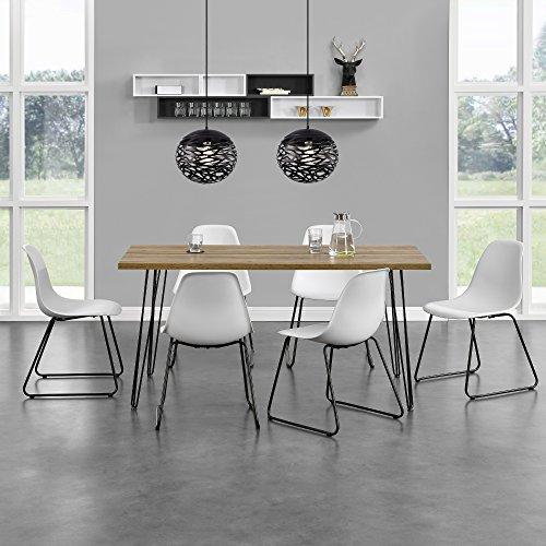 [en.casa]® Esstisch - Küchentisch Eszimmer Tisch Hairpin-leg - 160cm x 70cm x 75cm - Holzfarben