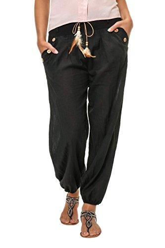 Hachiro Damen Hose Sommerhose Freizeithose Strandhose (L, Black)
