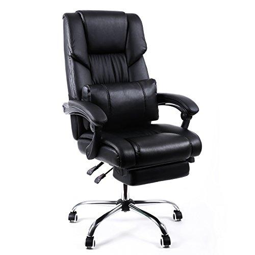Songmics Bürostuhl Chefsessel Bürodrehstuhl Drehstuhl mit Fußablage PU schwarz OBG71B