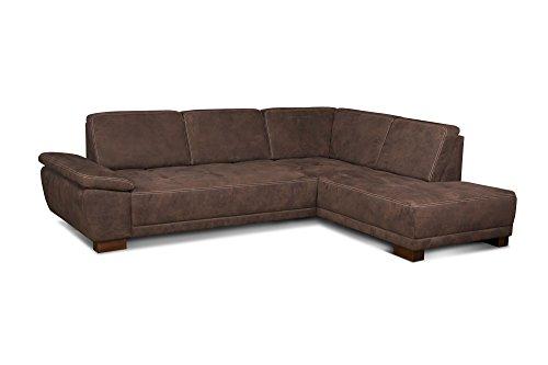 Cavadore Eckcouch Cytaro in Wildlederoptik und Kontrastnaht / Sofa L-Form mit Ottomanen rechts / Inkl. verstellbarer Sitztiefe und Armlehne / Größe: 281 x 84 x 218 cm (BxHxT) / Farbe: Braun