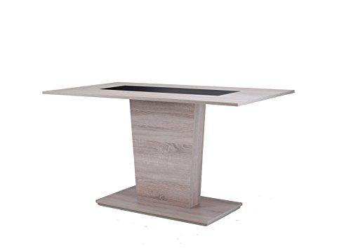 CAVADORE Esszimmertisch VENGA 110 cm breit/Moderner Esstisch mit Melaminplatte in Schwarz oder Weiß/Säulentisch in Melamin Sonoma Eiche/110 x 70 x 75 cm (LxBxH)