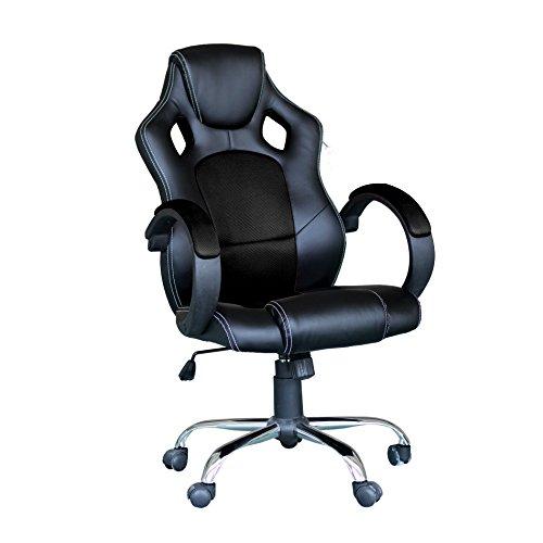 EBS Racing Bürostuhl Gaming Stuhl Chefsessel Computertischstuhl Schreibtischstuhl, Schwarz Chrom