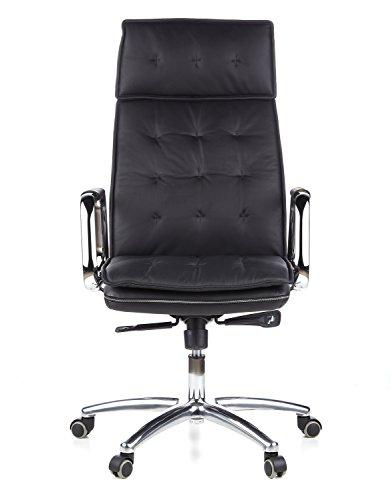 hjh OFFICE 600920 Chefsessel Bürostuhl VILLA 20 Nappa-Leder Schwarz Büro-Drehstuhl Hohe Rückenlehne Kopfstütze Armlehne Sessel XXL