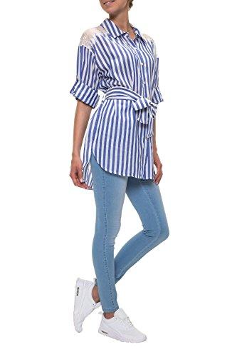 Hachiro Damen Langarmbluse Hemdbluse Longshirt Longtop (M, Light Blue)