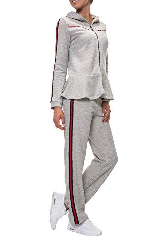 Hachiro Damen Jogginghose Freizeithose Sportswear Style (S, Grey)