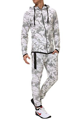 Hachiro Herren Jogginganzug Trainingsanzug 2er Set Hoodie und Sweatpants (S, White)