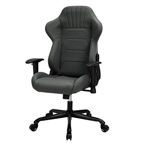 SONGMICS Bürostuhl Gaming Stuhl Chefsessel mit Armlehnen, Sportsitz Optik, Polyestergewebe Grau RCG04GY