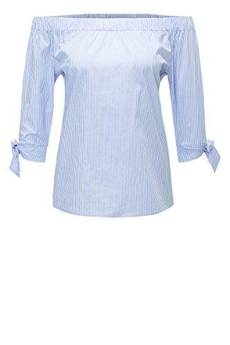 Hachiro Damen Off Shoulder Bluse Langarmbluse Carmenbluse (M, Blue Stripe)