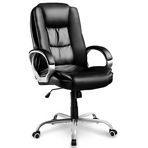 Merax Design Chefsessel Bürostuhl Leder Bürodrehstuhl Bürosessel Schreibtischstuhl Profi-Bürostuhl Lederimitat PU, 78 x 71 x 108-118cm, Schwarz