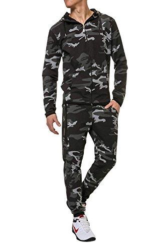 Hachiro Herren Jogginganzug Trainingsanzug 2er Set Hoodie und Sweatpants (M, Black)