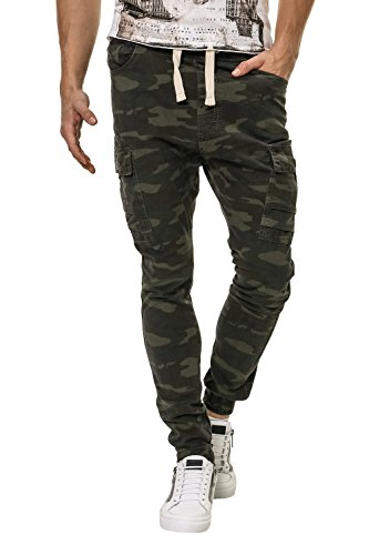 Hachiro Herren Jogger Jeans Cargohosen Print (W36, Khaki)