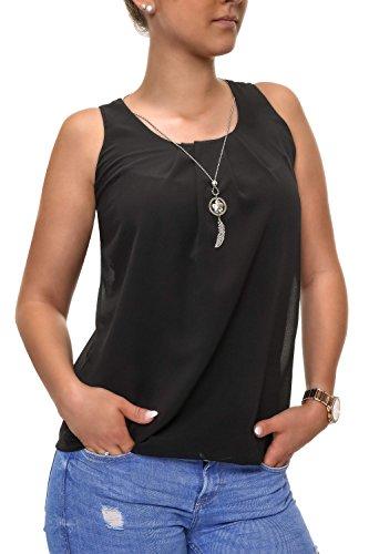 Hachiro Damen Top und Halskette 2er Set Blusentop Bluse (S, Black)