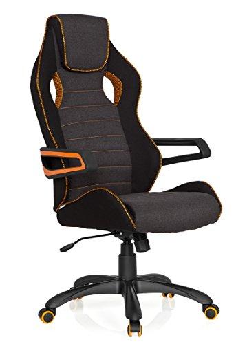 hjh OFFICE 621848 Racing Chefsessel RACER PRO III Stoff Schwarz-Grau-Orange Bürostuhl mit Kopfstütze