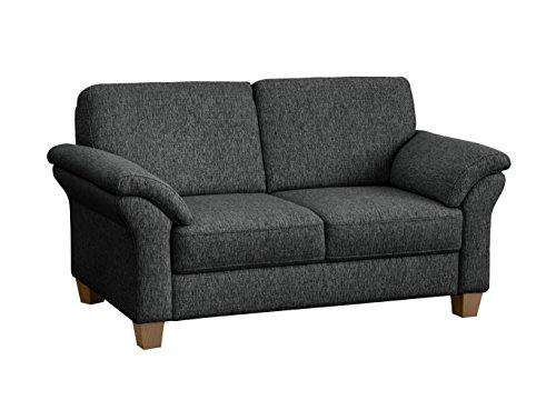 CAVADORE 2-Sitzer Baltrum im Landhausstil/Landhaus Couch mit Federkern/Landhaus Sofa Garnitur/Holzfüße Buche natur/156 x 87 x 88 cm (BxHxT)/Strukturstoff Grau