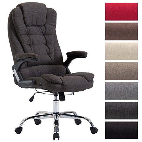 CLP XXL Chefsessel THOR mit Stoffbezug, max. belastbar bis 150 kg, Bürostuhl mit Armlehnen, höhenverstellbar, Drehstuhl mit dickem Polster Dunkelgrau