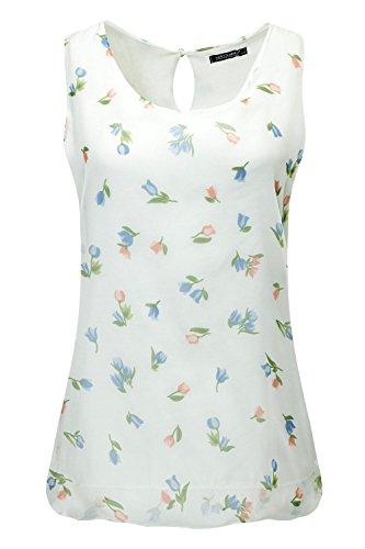 Hachiro Damen Top Blusentop Bluse Print (L, Offwhite)