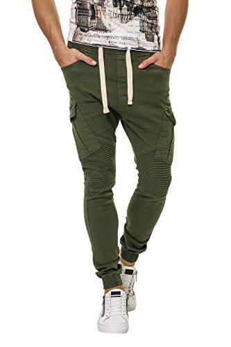 Hachiro Herren Jogger Jeans Biker Style Denim (W30, Khaki)