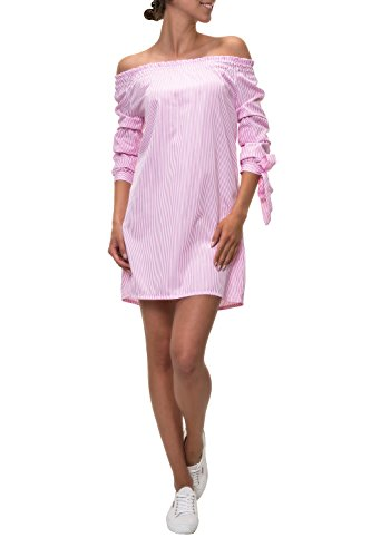 Hachiro Damen Off Shoulder Kleid Carmenbluse Longbluse (XL, Pink)