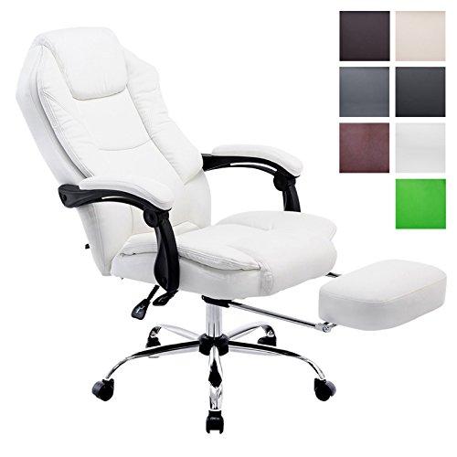 CLP Bürostuhl CASTLE mit Kunstlederbezug und hochwertiger Polsterung | Ergonomischer Bürosessel mit höhenverstellbarer Sitzhöhe | Drehstuhl mit ausziehbarer Fußablage und Rückenlehne | In verschiedenen Farben erhältlich Weiß