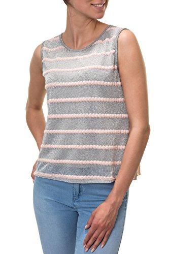 Hachiro Damen Feinstrick Top mit Rüschen (S, Grey/Pink)