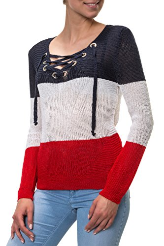 Hachiro Damen Strickpullover Lace-Up V-Neck Pullover (L/XL, Blue/White/Red)