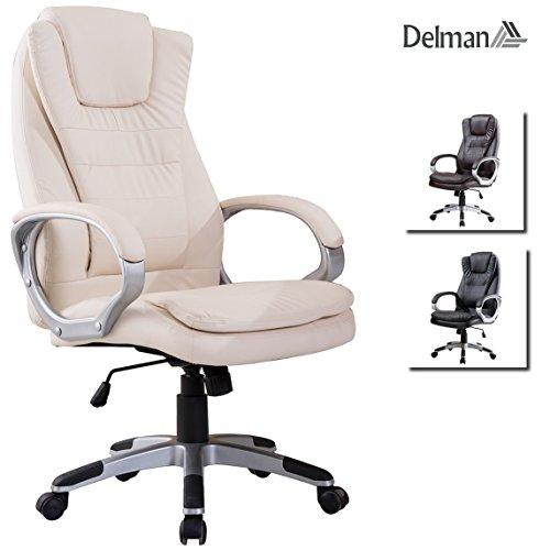 Delman Drehstuhl Bürostuhl Schreibtischstuhl Chefsessel Bürodrehstuhl Profi-Bürostuhl mit hoher Rückenlehne PU Kunstleder ergonomisch Sitzhöhe einstellbar 02-1001CW