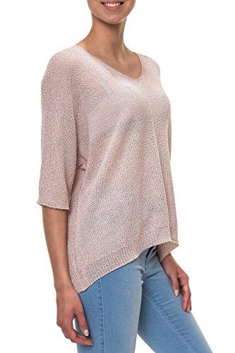 Hachiro Damen Strickpullover Pullover V-Neck Oversize (L / XL, Pink)