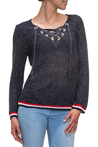 Hachiro Damen Strickpullover Lace-Up V-Neck Pullover (L/XL, Blue)