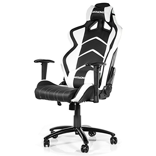 AK Racing Player Gaming Stuhl, Kunstleder, Schwarz/Blau _ P, Kunstleder, schwarz / weiß, 56x56.5x14.6 cm