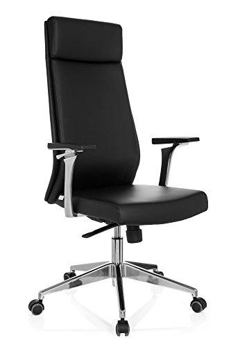 Bürostuhl Chefsessel PAGIO wertige Ausführung, viele Einstellungen, hohe Rückenlehne, Schreibtischstuhl ergonomisch, feste Armlehnen, Büro Sessel, Drehstuhl, Drehstuhl, Leder schwarz hjh OFFICE 724480
