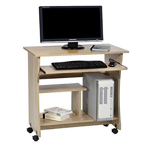 CARO-Möbel Computertisch Schreibtisch PC Tisch REZI in Sonoma Eiche mit Tastaturauszug und Rollen, 80 cm breit