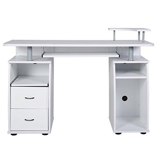 COSTWAY Computertisch Schreibtisch Bürotisch Arbeitstisch PC-Tisch mit Tastaturauszug Druckerablage Schubladen Farbwahl (Weiss)