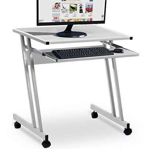 Computertisch in Weiß mit Aluoptik Farbauswahl Computerwagen Computertisch Bürotisch Schreibtisch PC Tisch Rollbar platzsparend Stahl