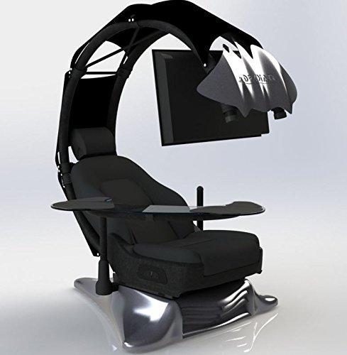 Drian Workstation Game-Sitze IT und Furniture Converged Gaming-Sitze für Büro, zu Hause und zum Gaming (Reinweiß) für Single Monitor und linkstürige Richtung Chic Black