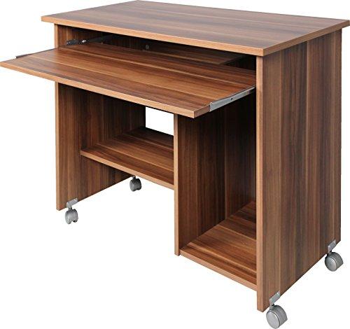 Germania 0482-88 Computertisch auf Laufrollen 0482, in Walnuss-Nachbildung, 90 x 72 x 48 cm (BxHxT)