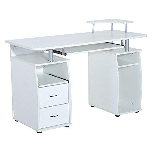 HOMCOM – Büro-/Computertisch, PC-Holz-Schreibtisch, für Zuhause, mit Schubladen & Ablage für die Tastatur, Weiß/Violett