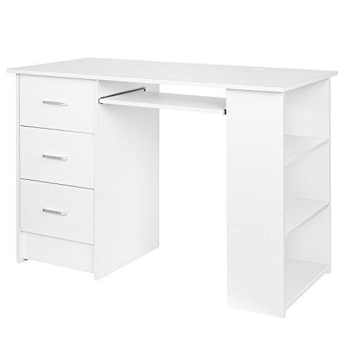 Homfa Computertisch Weiß 110x49x75cm Computerschreibtisch Schreibtisch Bürotisch Arbeitstisch (Weiß)