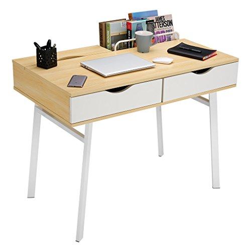 LANGRIA Computertisch Moderner minimalistischer Tisch mit 2 Schubladen 2 eingebaute Ablagefächer Stabile Metallbeine für Arbeitszimmer (100x58x75cm)