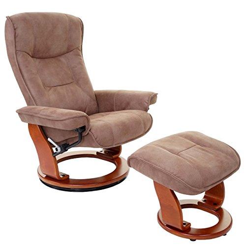 MCA Relaxsessel Hamilton, Fernsehsessel Hocker, Textil 130kg belastbar ~ antikbraun, honigfarben