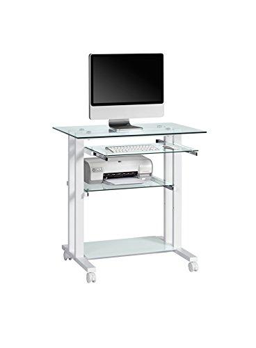 Maja 16509799 Computertisch, 800 x 837 x 510 mm, Metall weiß/Glas